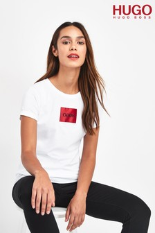 HUGO White Dennja Logo Label T-Shirt