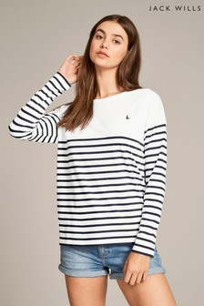 Jack Wills Navy Bideford Classic Breton Shirt