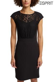 Esprit Womens Black Round Neck Lace Dress