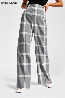 River Island Grey Check Wide Leg Trousers