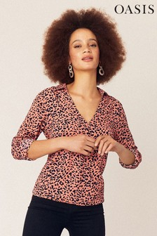 Oasis Orange Leopard Print Wrap Shirt