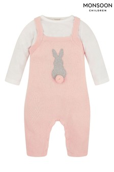 Monsoon Pink Baby Knitted Dungaree And T-Shirt Set