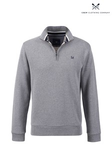 Crew Clothing Company Grey Classic 1/2 Zip Sweater