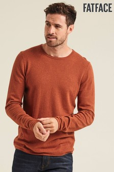 FatFace Brown Cotton Cashmere Roll Crew