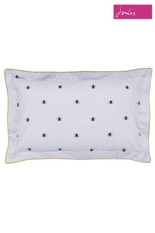 Joules Botanical Bee Piped Cotton Pillowcase