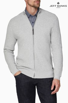 Jeff Banks Grey Men's Cable Zip Through Jumper
