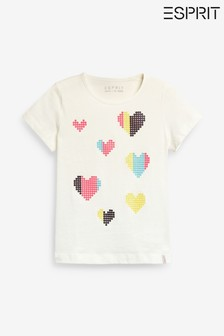 Esprit White Sequin Heart Print T-Shirt