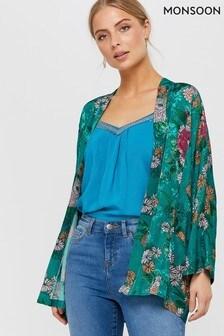 Monsoon Blue Ola Oriental Print Kimono