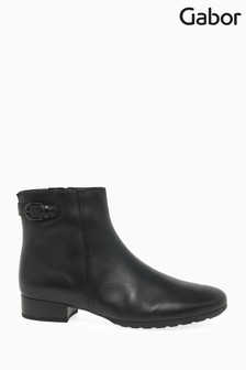 Gabor Black Partner Wide Foot Fit Leather Ankle Boots