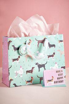 Dog Print Gift Bag Set