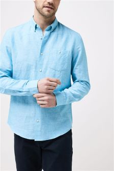 Long Sleeve Linen Blend Shirt
