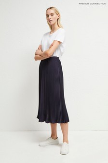 French Connection Blue Crepe Light Pleated Midi Skirt