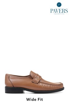 Pavers Mens Tan Wider Fit Leather Loafers
