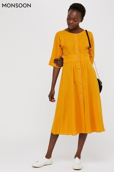 Monsoon Yellow Etna Cotton Midi Dress