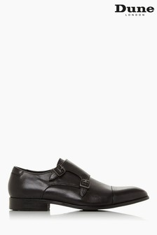 Dune London Scheme Black Leather Double Buckle Monk Shoes