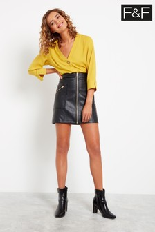 F&F Black Zip-Up PU Mini Skirt