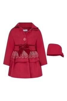 Baby Girls Red Coat Bonnet Set