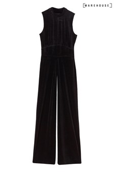 Warehouse Black Velvet Culotte Jumpsuit