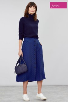 Joules Blue Tallulah Button Through Skirt