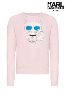 Karl Lagerfeld Light Pink Cat Print Sweatshirt