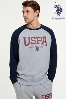 סווטשירט עם צווארון מעוגל של U.S. Polo Assn. דגםVarsity Logo