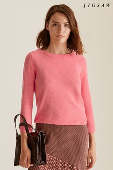 Jigsaw Coral Button Back Silk Cuff Jumper