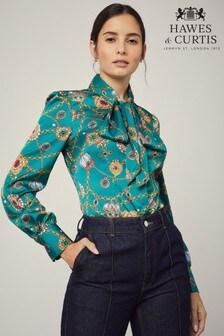 قميص Crown Jewels تفصيلة ضيقة أزرق من Hawes & Curtis