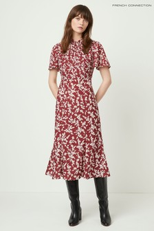 French Connection Red Bruna Light Twist Neck Dress