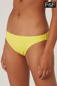 F&F Yellow Ribbed Narrow Bikini Bottoms