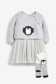 Penguin Knit Dress (0mths-2yrs)