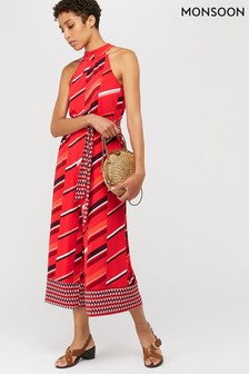 Monsoon Red Gina Jersey Print Jumpsuit