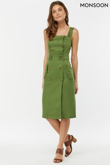 Monsoon Ladies Green Bryony Linen Button Through Dress