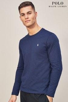Polo Ralph Lauren Langarm-T-Shirt mit Rundhalsausschnitt, marineblau