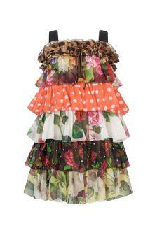 Dolce & Gabbana Kids Girls Multicoloured Silk Dress