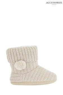 Accessorize Cream Lurex Chunky Knitted Boots