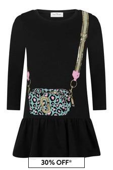 Girls Black Cotton Trompe L'oeil Dress