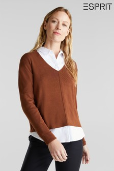 Esprit Brown Long Sleeve Blouse