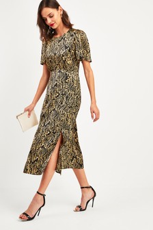 Animal Print Silk Midi Dress