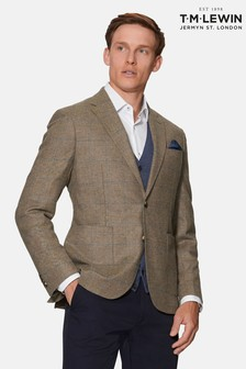 T.M. Lewin Olivier Slim Fit Jacket In Blue And Neutral Check