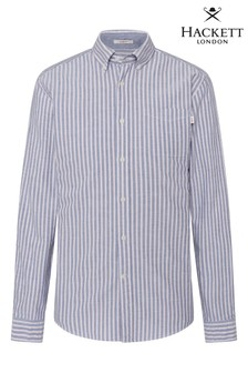 Hackett Blue Slim Fit HKT Oxford Wide Stripe Shirt