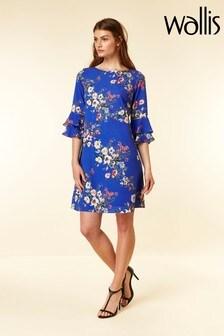 Wallis Blue Botanical Double Flute Dress