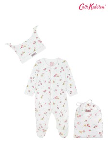 Cath Kidston White Wimbourne Ditsy Sleepsuit Hat And Bag