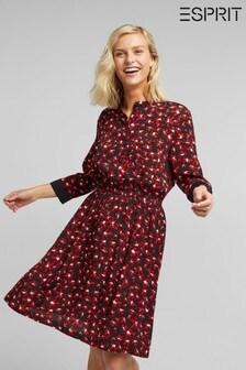 Esprit Black Print Woven Dress