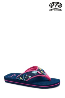 Animal Blue Swish Upper Print Flip Flops