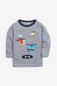 Long Sleeve Appliqué Helicopters T-Shirt (3mths-7yrs)