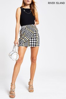 River Island Black Chain Print Wrap Mini Skirt