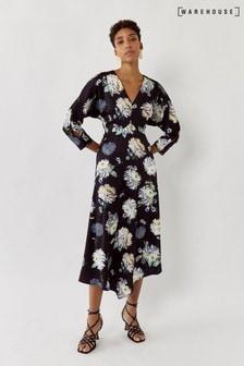 فستان متوسط الطول ياقة سبعة ساتان مشجر أسود من Warehouse
