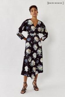 Warehouse Black Floral Satin V-Neck Midi Dress