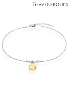 Beaverbrooks Sterling Silver And Gold Plated Sun Anklet