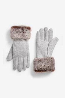 Dżersejowe rękawiczki obszyte sztucznym futerkiem